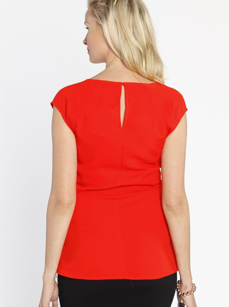 Stretchy Maternity Work Top with Side Zipper Opening - Tangerine - Angel Maternity - Maternity clothes - shop online