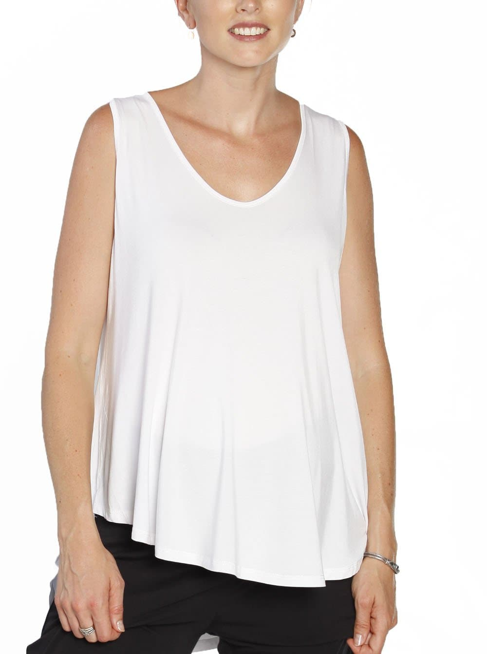 Maternity Sleeveless Swing Top - White