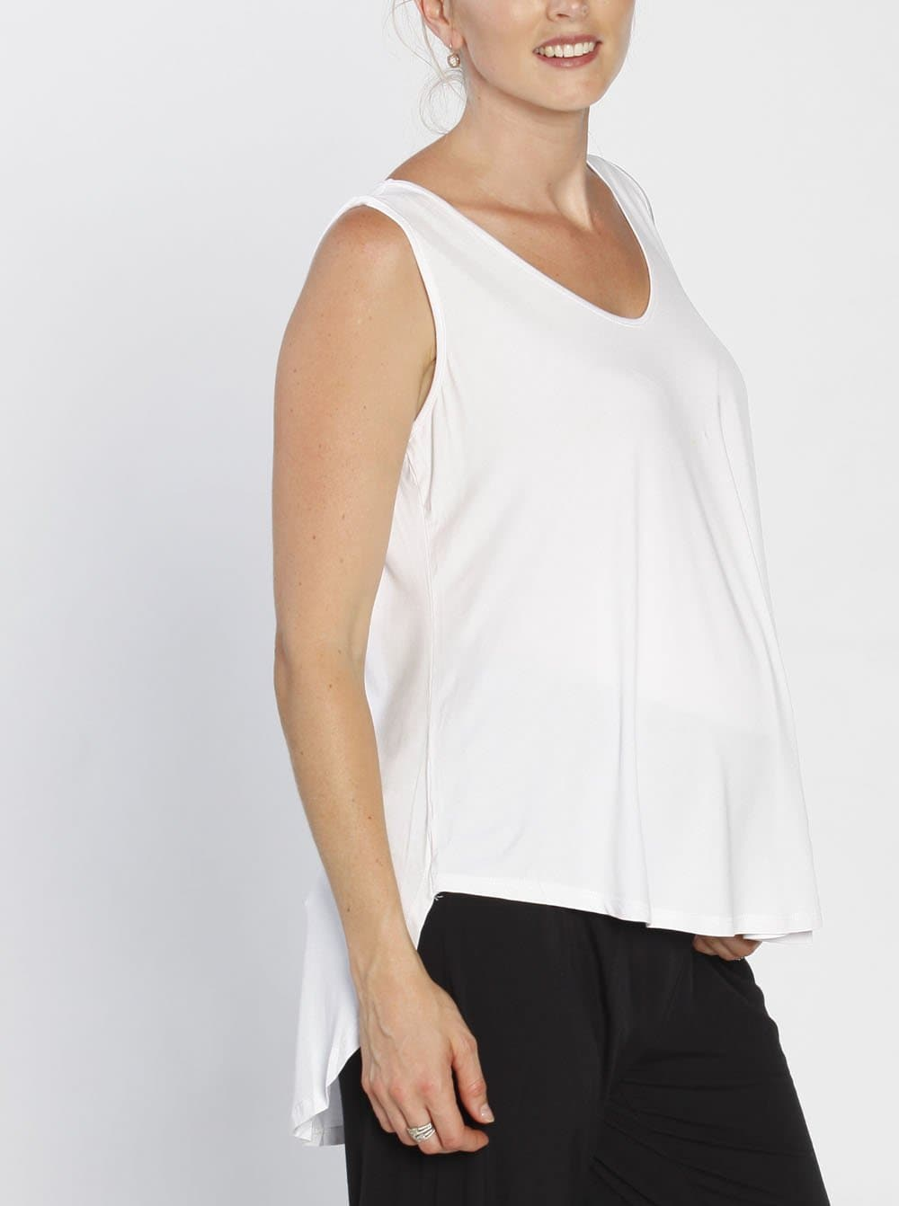 Maternity Sleeveless Swing Top - White side