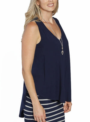 Maternity Sleeveless Swing Top - Dark Navy