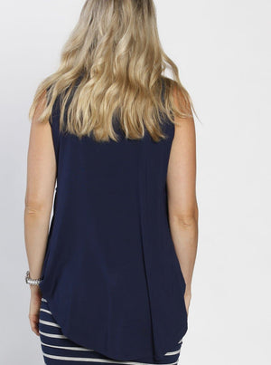 Maternity Sleeveless Swing Top - Dark Navy back