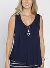 Maternity Sleeveless Swing Top - Dark Navy front