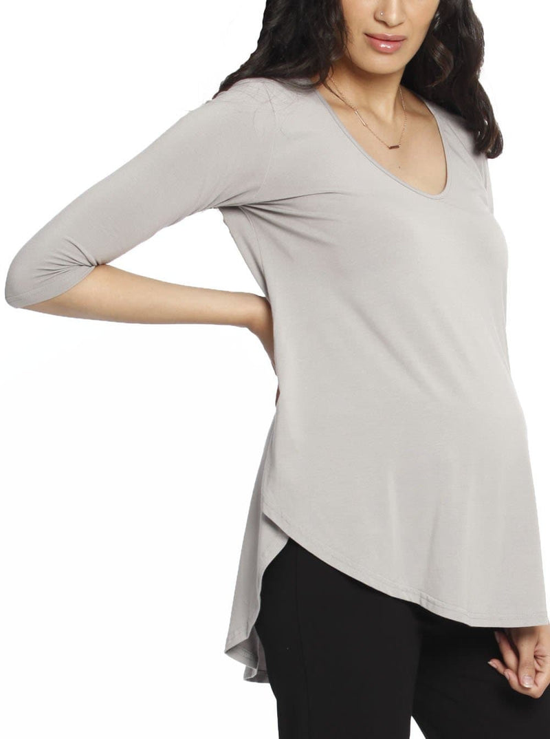 Maternity Bamboo Half Sleeve Swing Top - Grey front