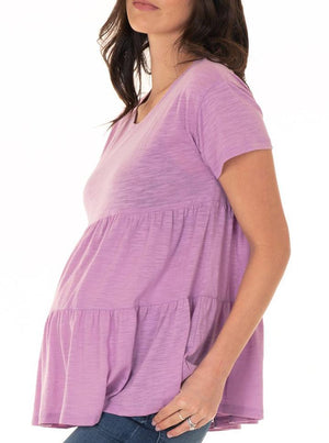 Maternity Babydoll Short Sleeve Top - Lavender
