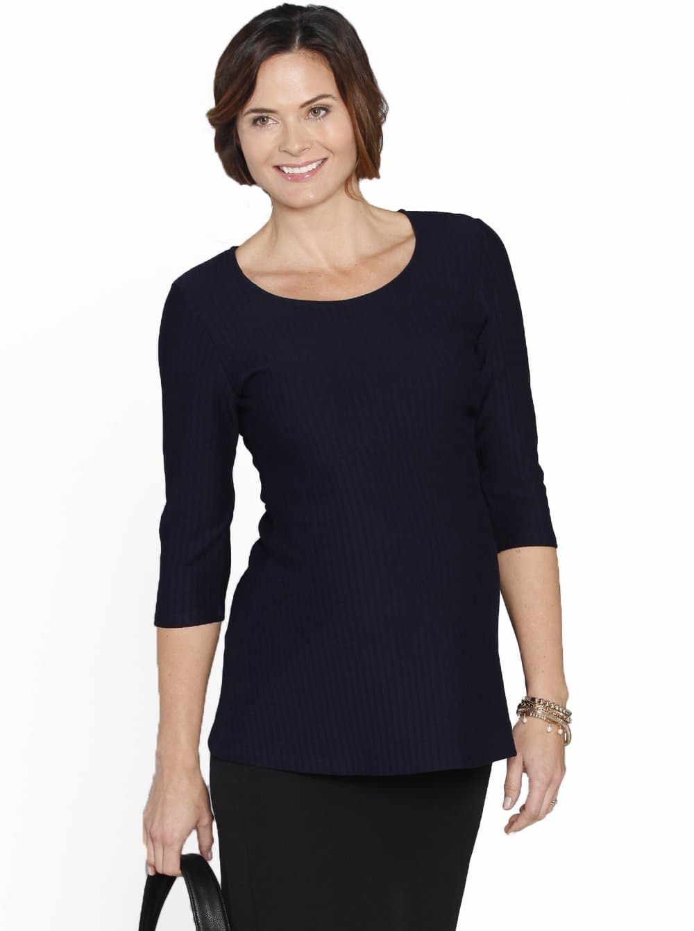 Maternity Fitted Self Stripe Half Sleeve Work Top - Navy