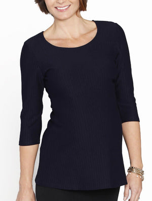Maternity Fitted Self Stripe Half Sleeve Work Top - Navy - Angel Maternity - Maternity clothes - shop online