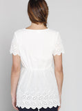 Maternity Relax Fit Summer Cotton Smock Top - White - Angel Maternity - Maternity clothes - shop online