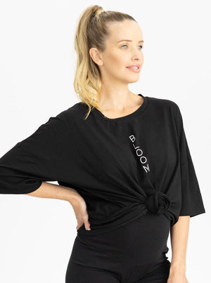 Maternity Loose Fit Oversize Tee In Black top
