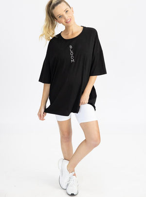 Maternity Loose Fit Oversize Tee In Black loose
