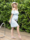 Maternity Off Shoulder Tencel Dress - Light Chambray side