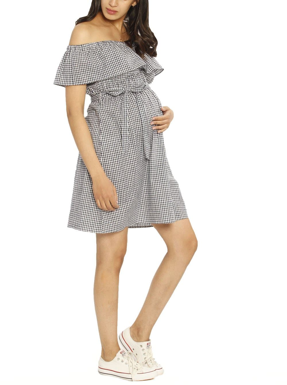 Maternity Off Shoulder Cotton Dress - Gingham Print