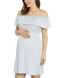 Maternity Off Shoulder Tencel Dress - Light Chambray