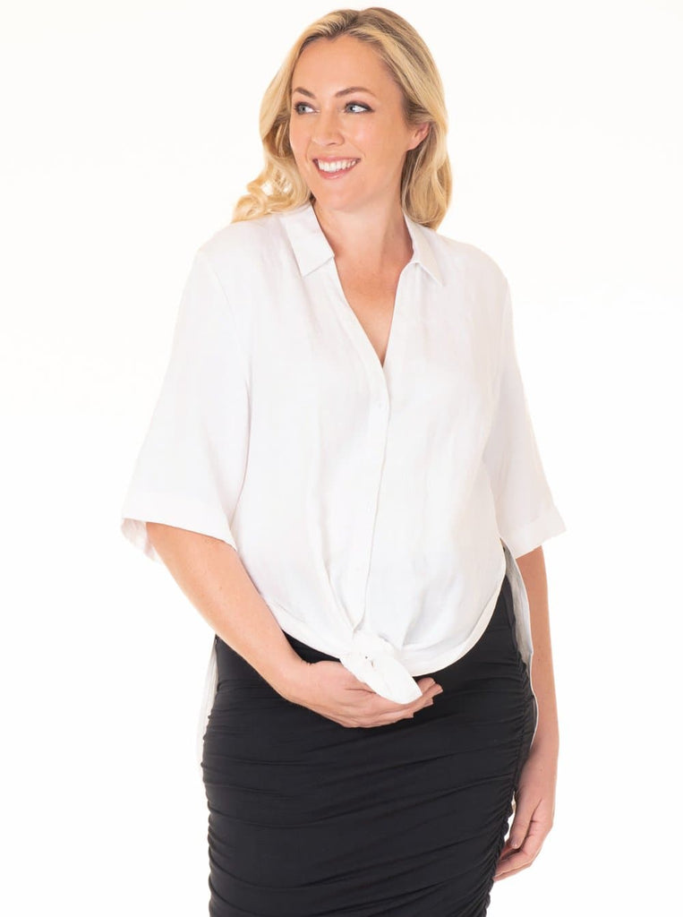 Maternity Linen Blend Button Nursing Shirt - White