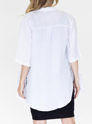 Maternity and Breastfeeding Linen Shirt in White