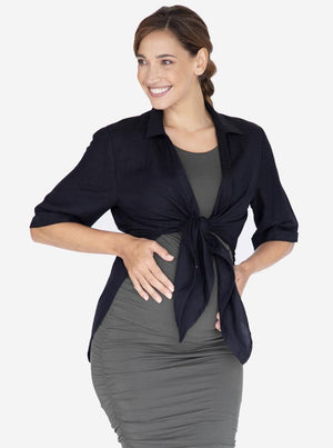 Maternity and Breastfeeding Linen Shirt in Black