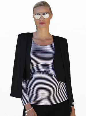 Maternity Trendy Cape Blazer in Solid Black - Angel Maternity - Maternity clothes - shop online