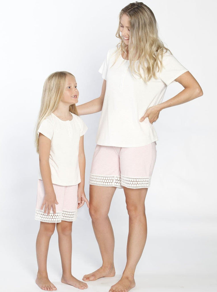 Ruby Joy Daughter Sleepwear Set - Off White/ Pink mum set