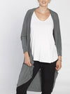 Ruby Joy Long Scoop Cardigan in Khaki Green/ Black