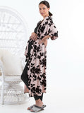 Maternity Half Sleeve Duster Long Cardigan - Pink & Black Flowers