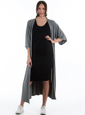 Maternity Half Sleeve Casual Duster Long Cardigan - Khaki