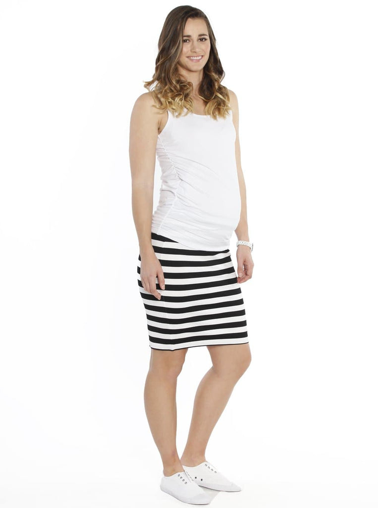 Maternity Fitted Cut Stretchy Skirt in Black Stripes - Angel Maternity - Maternity clothes - shop online