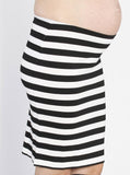 Maternity Fitted Cut Stretchy Skirt in Black Stripes open