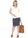 Maternity Fitted Cut Stretchy Casual Skirt in Navy Stripes - Angel Maternity - Maternity clothes - shop online
