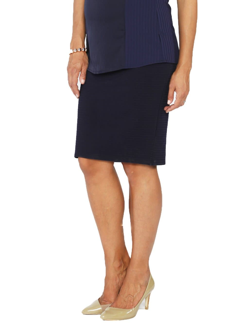 Straight Cut Maternity Work Skirt in Navy Self Stripe