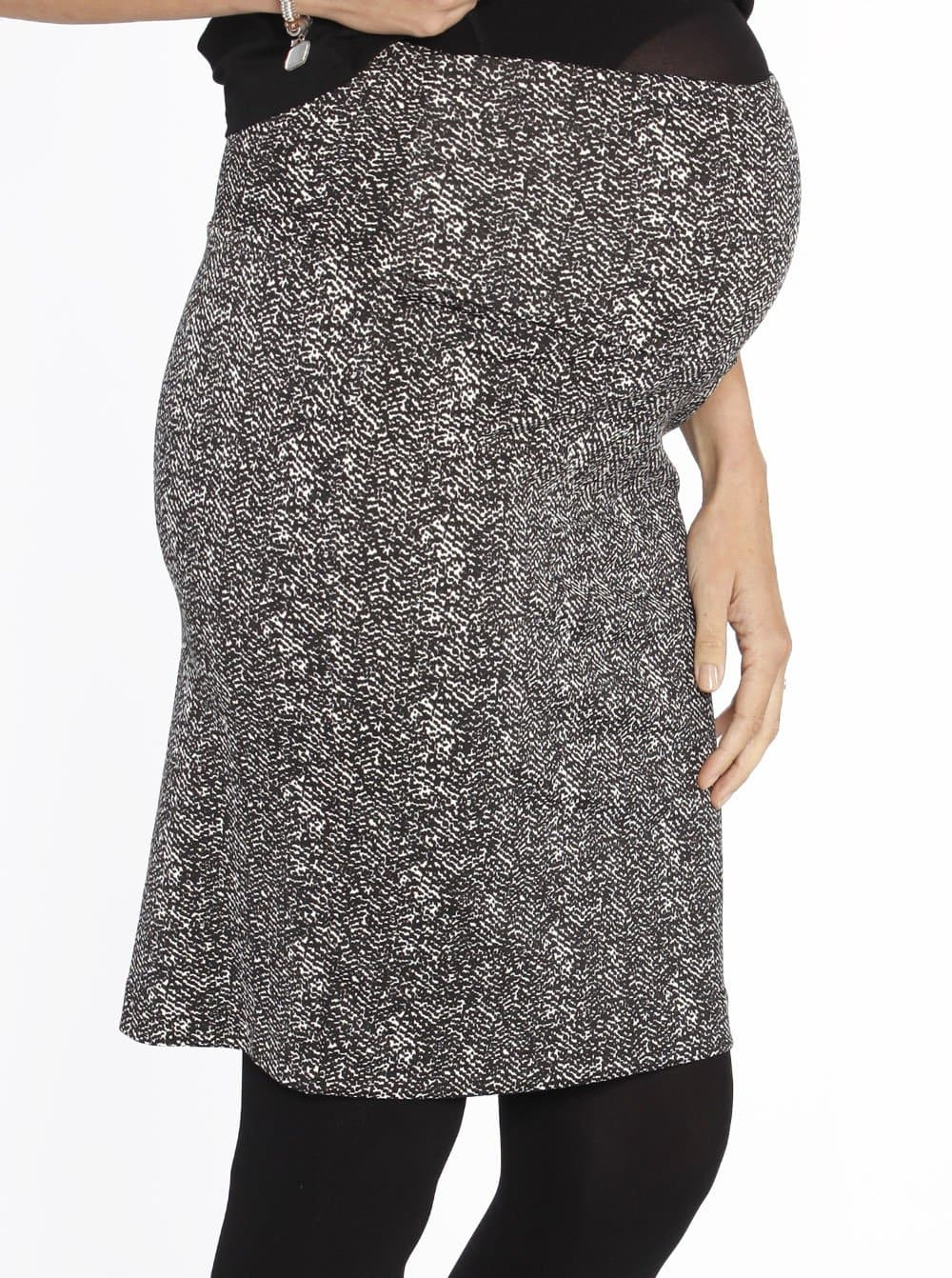Maternity Stretchy Ponti Skirt in Black & White Print
