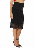 Maternity Stretchy Black Skirt with Lace Details