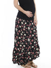 Maternity Wrap Versatile Skirt in Black Floral