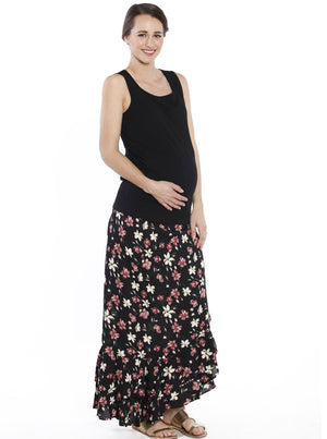 Maternity Wrap Versatile Skirt in Black Floral model