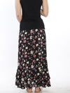 Maternity Wrap Versatile Skirt in Black Floral back