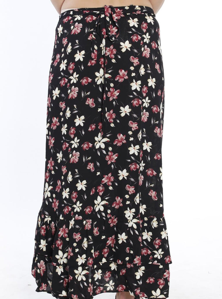 Maternity Wrap Versatile Skirt in Black Floral front 3031