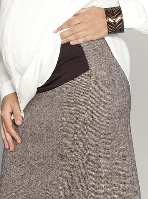 Maternity Wool Skirt in Classic Straight Cut - Brown opening
