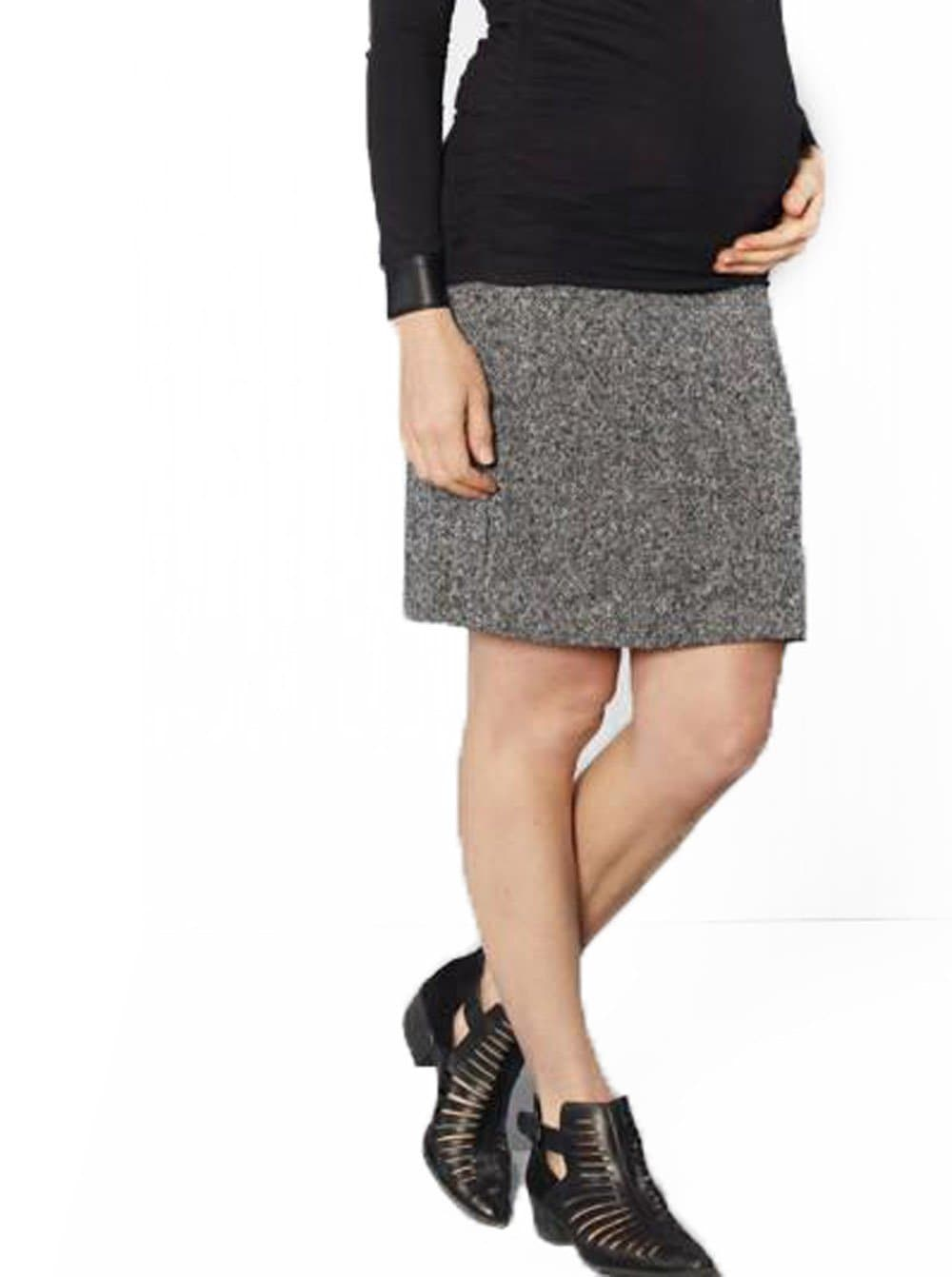 Maternity Wool Skirt in Classic Straight Cut -Grey