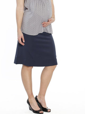 Maternity Cotton Knee Shorts in Dark Navy
