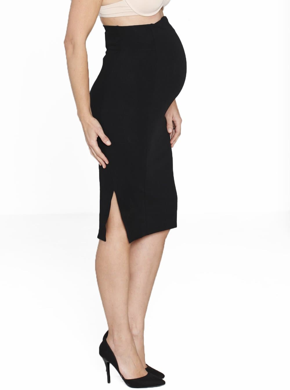 Textured Fitted High Waist Maternity Skirt in Black - Angel Maternity - Maternity clothes - shop online