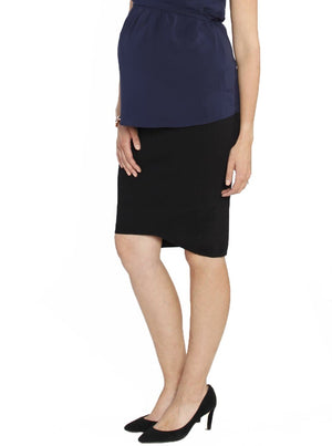 Maternity Soft Mid Length Ribbed Skirt - Black #321 - Angel Maternity - Maternity clothes - shop online