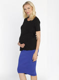 Maternity Soft Mid Length Ribbed Skirt - Cobalt Blue #321 - Angel Maternity - Maternity clothes - shop online