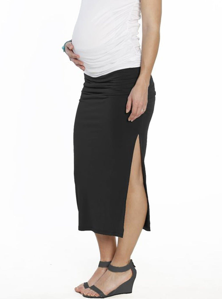 Maternity Side Ruching High Waist Maxi Skirt - Black - Angel Maternity - Maternity clothes - shop online