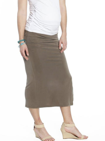 Straight Cut Over Belly Work Skirt in Brown