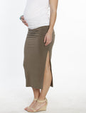 Maternity Side Ruching High Waist Maxi Skirt - Khaki - Angel Maternity - Maternity clothes - shop online