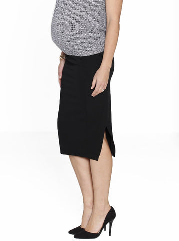 Maternity Fitted Cut Stretchy Skirt in Black Stripes