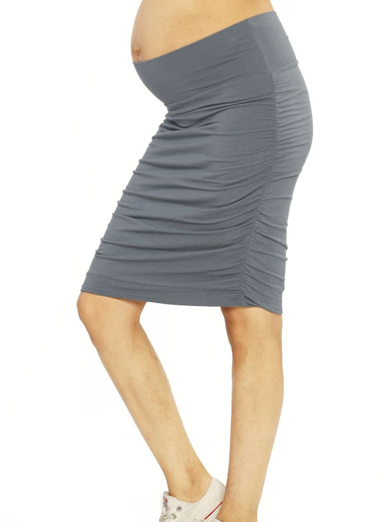 "Ruby Joy ""The Ruched"" Maternity Bamboo Skirt - Powder Blue"