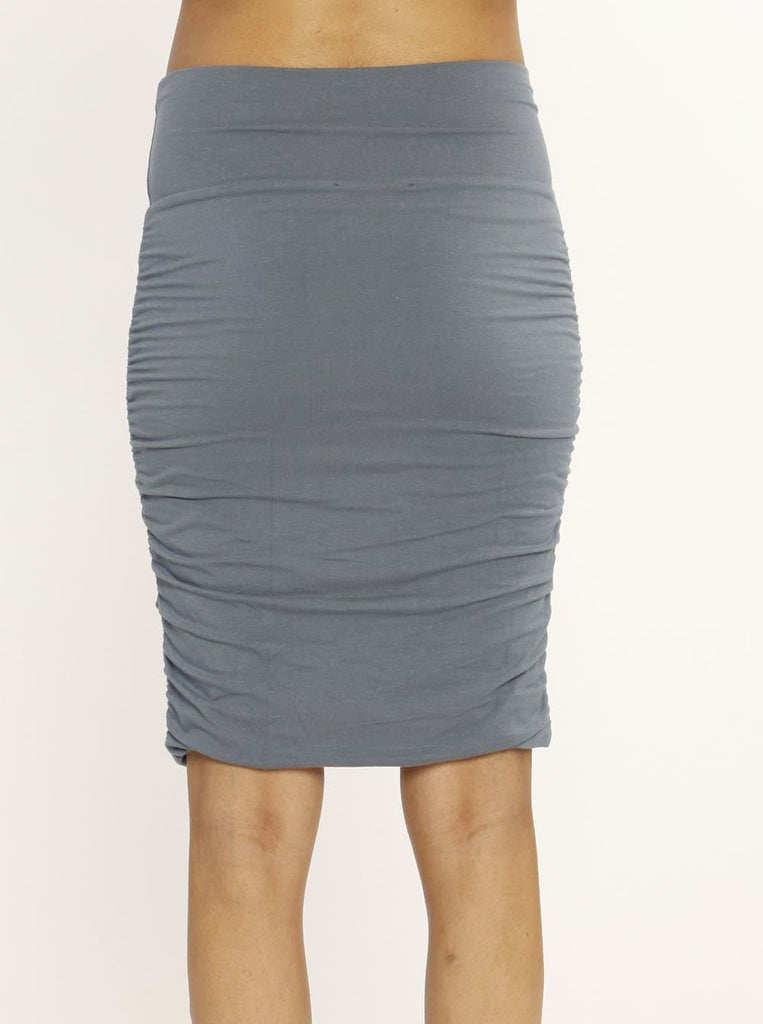 "Ruby Joy ""The Rouched"" Maternity Bamboo Skirt - Powder Blue"