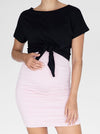 Bamboo Maternity Fitted Skirt in Pink