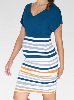 Bamboo Maternity Fitted Skirt in Orange and Blue Stripe