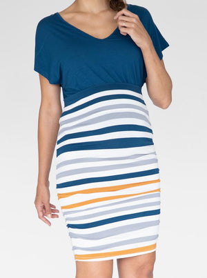 Bamboo Maternity Fitted Skirt in Orange and Blue Stripe front