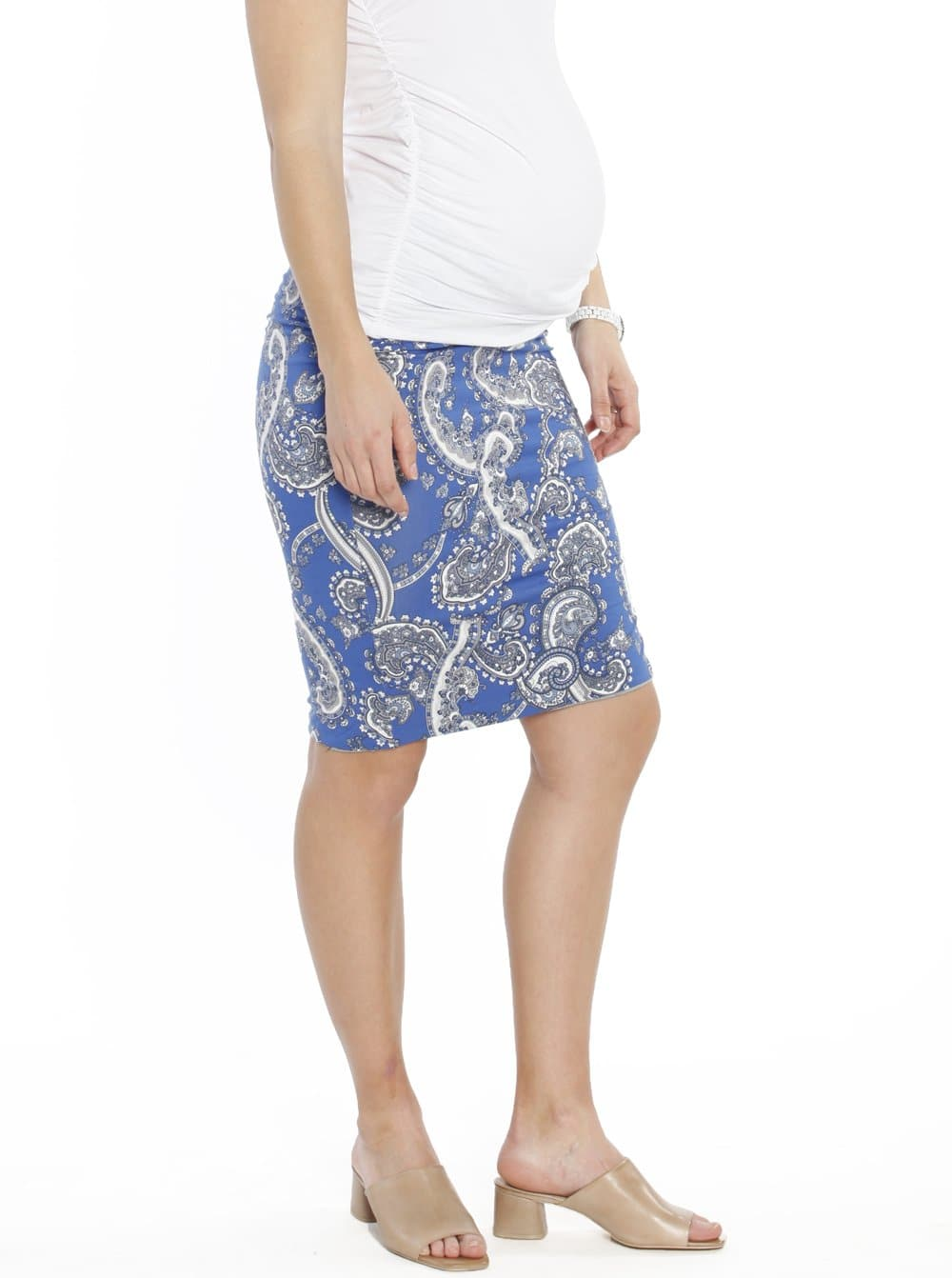 "Maternity ""The Ruched"" Fitted Skirt - Blue Paisley"